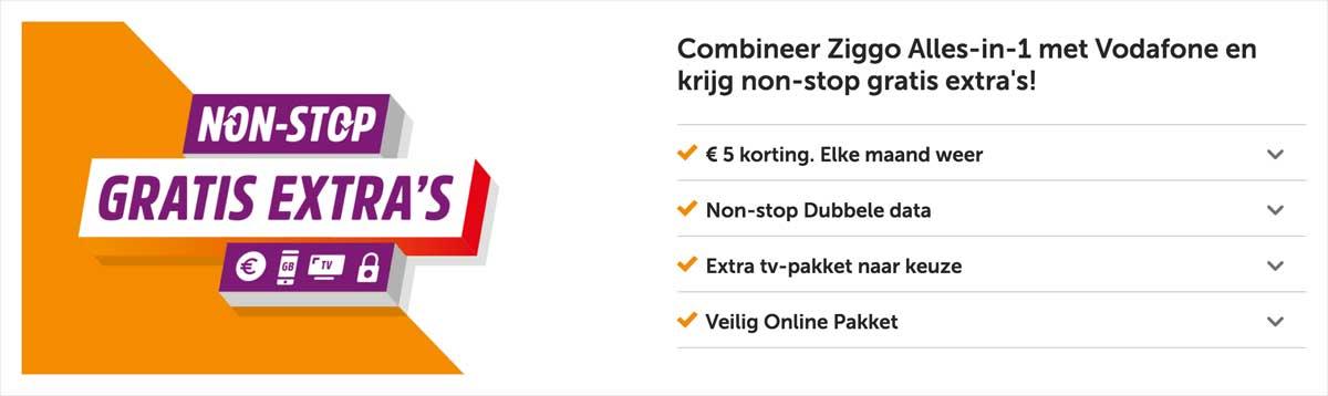 Non-Stop extra's als je Ziggo combineert met Vodafone.